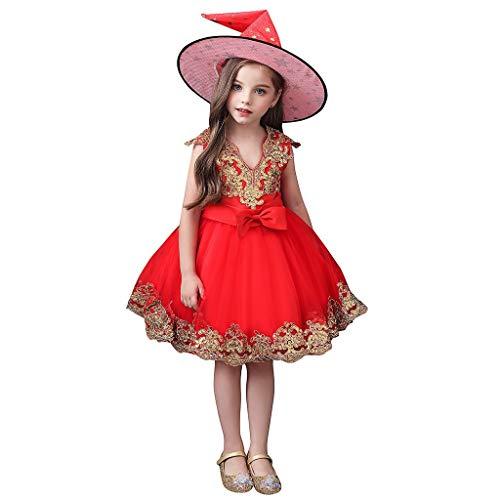 Riou Bebé Infantil Niñas Vestido de Bautizo de Cumpleaños Bautismo Vestido de Banquete de Boda Halloween Princess Nets Tutu Dress Falda + Sombrero Disfraz de Cosplay