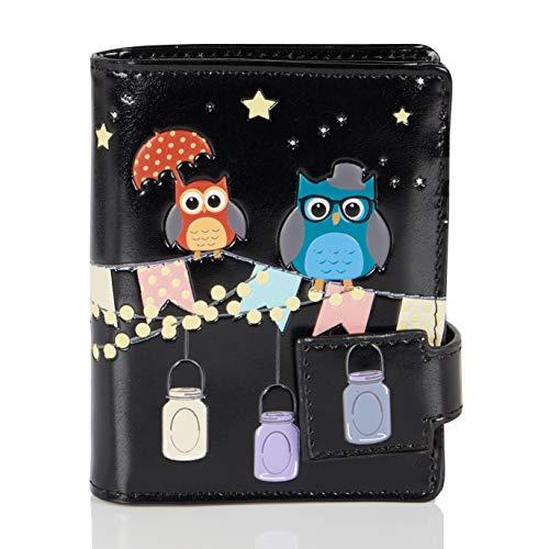Shagwear ® Portemonnaie Geldbörse Damen Geldbeutel Mädchen | Bifold Mehrfarbig Portmonee Designs: (Veranda & Eulen Schwarz/Patio Owls)
