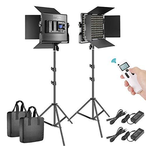 Neewer 2er Pack fortgeschritten 2,4G 660 LED Beleuchtungsset dimmbares Bi Farbe LED Feld mit LCD Bildschirm 2.4G Funkfernbedienung und Lichtstativ für Produktfotografie