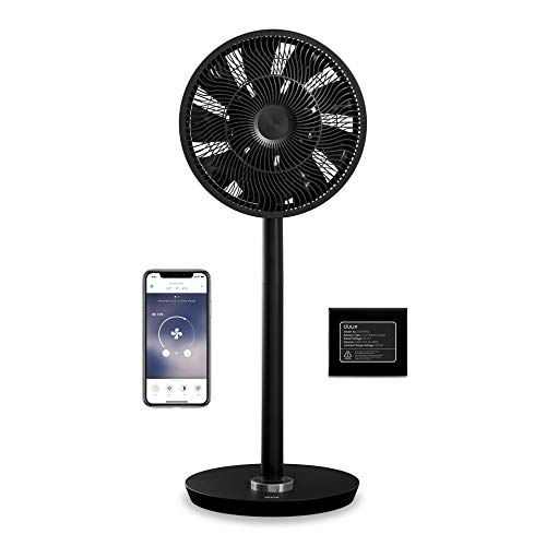 Duux Whisper Flex Smart Standventilator - Steuerung per Fernbedienung & Smartphone - Höhenverstellbar 51-88cm - Leiser Ventilator mit Nachtmodus und Timer - Energieeffizient 2W, Mit Akku (Schwarz)