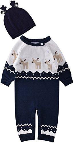 ZOEREA Unisex Neugeborenes Baby Strick Strampler Lange Ärmel Watte Warme Pullover Elch Hirsche Muster mit Antlers Hut für Weihnachten (0-22 Monate)