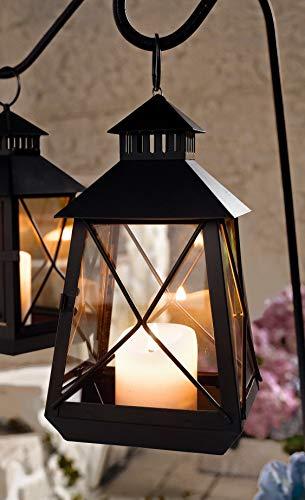 klassische Laterne aus Metall & Glas, braun, 25 cm hoch, Gartenlaterne, Windlicht
