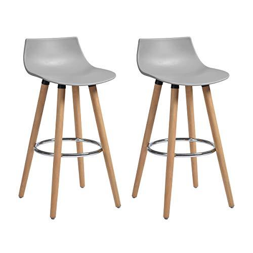 FURNITURE-R Francia Set di 2 sgabelli da bar per colazione, cucina, bancone sedie da bar, sgabello alto, grigio