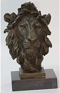 Nice Looking Art Deco African Lion Bust Wildlife Bronze Sculpture Statue Home Decoration Sale