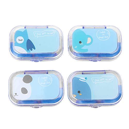 TOPBATHY 4 Stück Kontaktlinsenbehälter Tasche Kontaktlinsenbox mit Spiegel Tragbare Kontaktlinsen-Reisesets mit Einweichflasche Pinzette (Blau Zufälliges Tiermuster)
