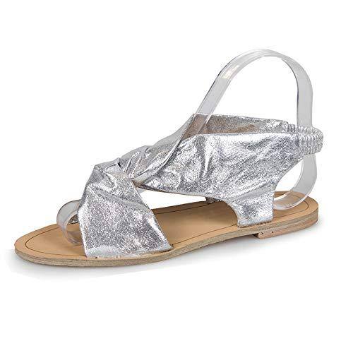 ZJMM Sandalias Plateadas De Verano para Mujer Sandalias De Verano para Mujer Cabeza Redonda Sandalias Planas para Mujer Zapatos De Mujer Talla Grande