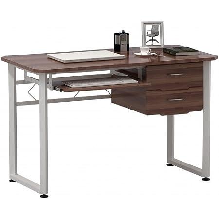hjh OFFICE 673621 table d'ordinateur, bureau WORKFLOW noyer/blanc, grande surface de travail, avec support clavier et tablette, 2 grands tiroirs, grand espace de rangement, 76 x 120 x 60 cm