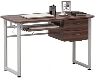 hjh OFFICE 673621 table d'ordinateur, bureau WORKFLOW noyer/blanc, grande surface de travail, avec support clavier et tabl...