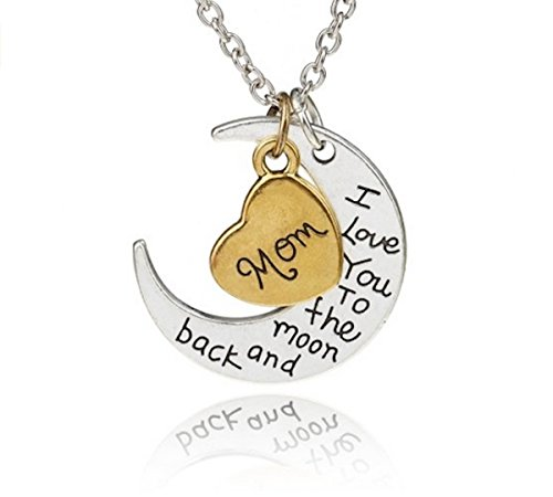 Mini Trinkets Gold/Silver I Love You to The Moon & Back Necklace Pendant Charm Gift Present (Mom)