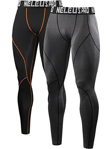 Neleus Men's 2 Pack Compression Pants Workout Running Tights Leggings,6013,Black & Orange,Grey,US M,EU L