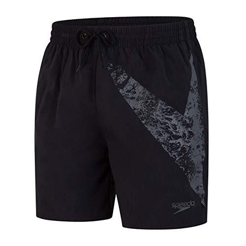 """Speedo Boomstar De 16"""" Shorts De Baño, Hombre, Negro Gris óxido, XS"""