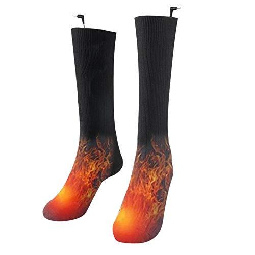PAKASEPT Calcetines calefactables eléctricos a pilas, calcetines térmicos para hombres y mujeres, color negro (sin batería)