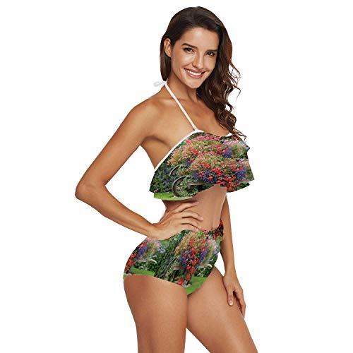 C COABALLA Women's Swimsuit Two Piece Off Shoulder Flounce Ladies Swimwear English Country Garden Flower Wheelbarrow Flower,XL