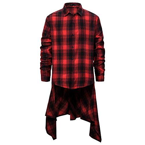 Chemise à col Rabattu pour Homme à Rayures à Carreaux imprimé à Ourlet irrégulier Hip-hop à la Mode Toutes Les Saisons XX-Large