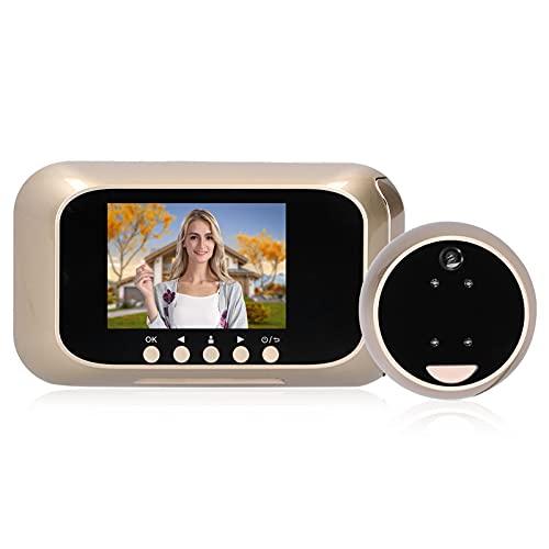 Visor de puerta con mirilla Timbre de video inteligente Pantalla de 3 pulgadas 720P Visor de mirilla digital Cámara de puerta Monitor con visión nocturna, Gran angular de 125 °, Carga USB