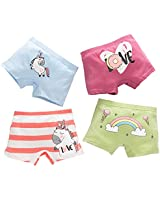 Core Pretty Big Girls Cotton Boy Shorts Toddler Assorted Panties Baby Princess Underwear Teenage Comfy Fashion Pants Clothes (Pack of 4) (Unicorn, 11-12 Years)