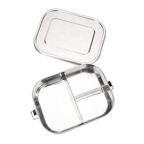 YINAIER - Fiambrera de acero inoxidable 304 de grado 304, anillo de sellado de silicona a prueba de fugas, rectangulares de almacenamiento de arroz con 3 compartimentos, acero inoxidable, 1400ML