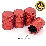 Tire Valve Stem Caps, Red, 4 pcs/Pack, Anodized Aluminum Tire Valve Cap Set,...