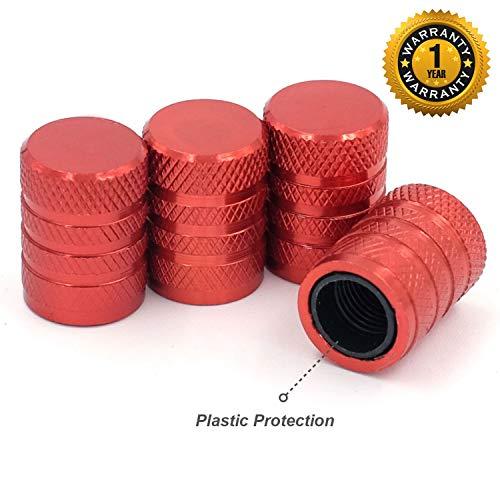 Tire Valve Stem Caps, Red, 4 pcs/Pack, Anodized Aluminum Tire Valve Cap Set, Corrosion Resistant, Universal Stem Covers for Cars Trucks Motorcycles SUVs and Bikes