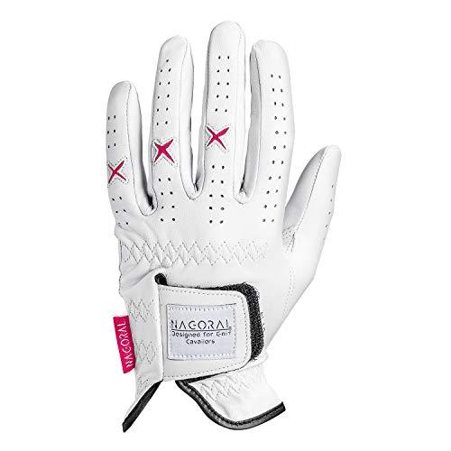 NAGORAL Damen Golfhandschuh in Polarweiß mit rosafarbenen Elementen – 100% feines Cabretta Schafsleder für EIN perfektes Spielgefühl – für Damen – Links (Weiß/Rosa, M)