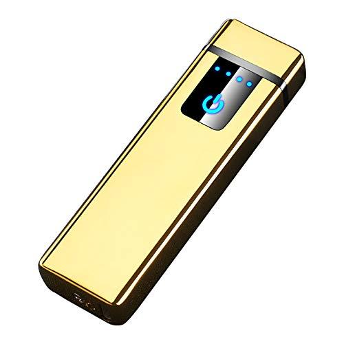 THE NAMCHE BAZAR USB Feuerzeug elektronisches aufladbar, Dual Lichtbogen, Flamme ohne Gas. Premium-Qualität mit Geschenk-Box. SturmFeuerzeug (Golden)