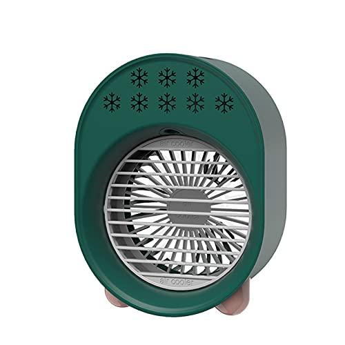 Portatile Mini Ventola USB, umidificatore per condizionatore d'Aria da 3 W con Luce Notturna con Controllo a 3 velocità capacità di 500 ml,7 x 5,3 x 3,6 Pollici,Verde