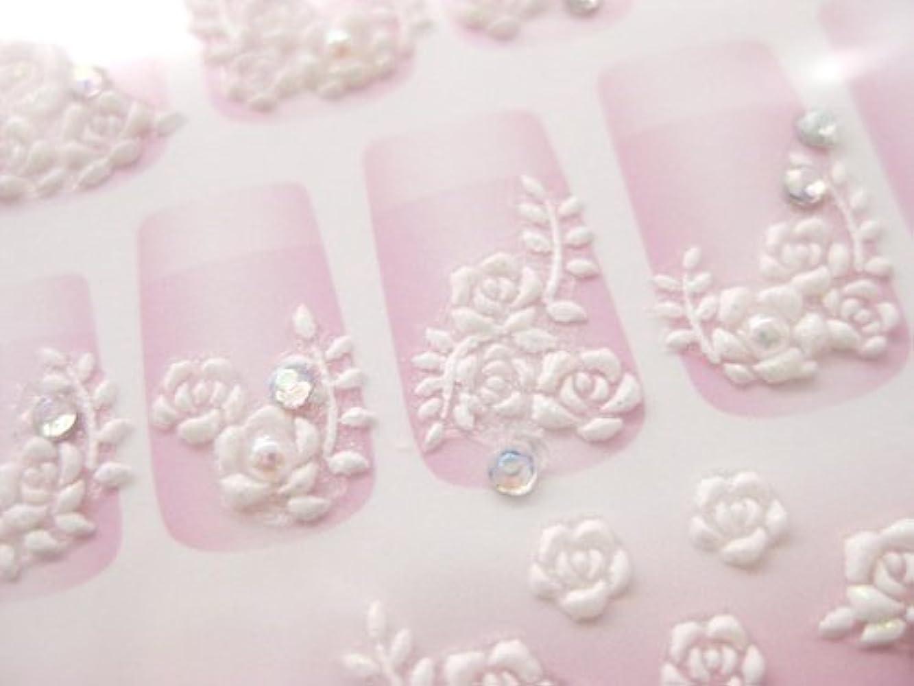 平衡ささやきスケート3Dラバーアート プリンセスネイルシール(バラ ホワイト)