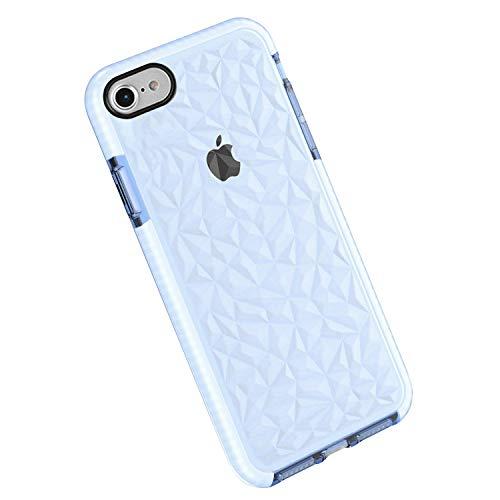Funda iPhone 8/7, Carcasa Silicona Transparente Protector TPU Airbag Anti-Choque Ultra-Delgado Anti-arañazos Case 3D Modelo Geométrico de Diamante Funda (iPhone 8/7, Violeta Claro)