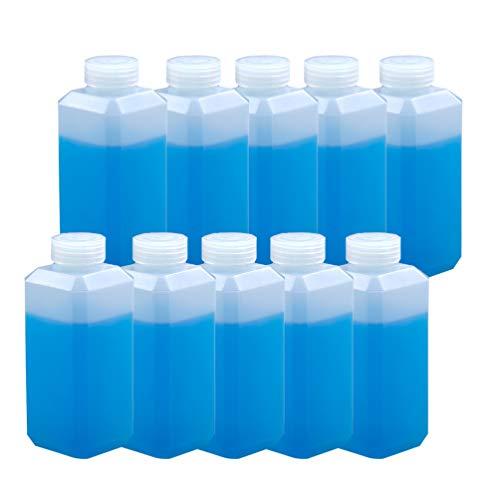 EXCEART 10 Piezas Botellas Cuadradas de Plástico Vacías Botellas de Boca Estrecha Botellas de Bebidas de Jugo Contenedor Recargable Botellas de Subenvasado para Reactivo Líquido 250 Ml
