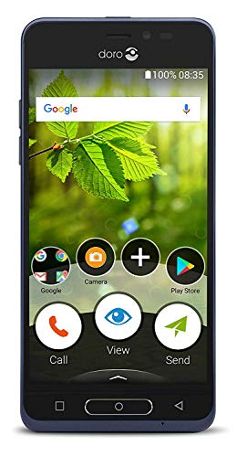 Doro 8035 Unlocked 5 MP Camera Smartphone for Seniors with 5' Display, GPS Localisation and Dual Interface (Blue)