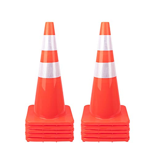 [ 10 Pack ] 28' Traffic Cones PVC Safety Road Parking Cones Weighted Hazard Cones Construction Cones for Traffic Fluorescent Orange w/4' w/6' Reflective Strips Collar (10)