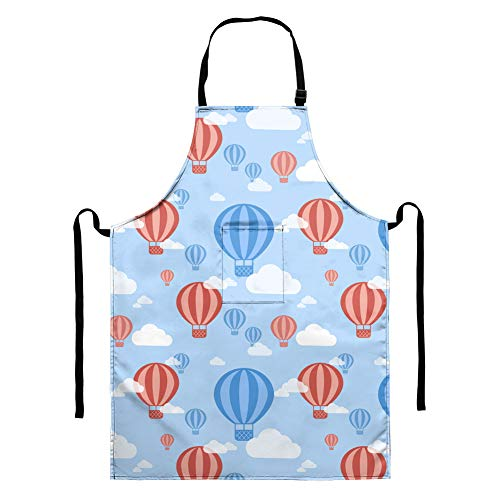Agroupdream Bib Apron Thanksgiving,Christmas,Cooking,Baking Painting Plus Size Aprons for Women with Pockets Hot Air Balloon