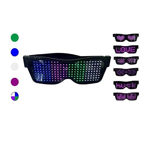 WYCY LED Luminous Light Up Gafas Control de Aplicación Pantalla de 4 Colores Gafas LED Gafas Luminosas USB para Disfraces de Halloween Fiesta Discotecas Fiesta de Cumpleaños (4 Colores)