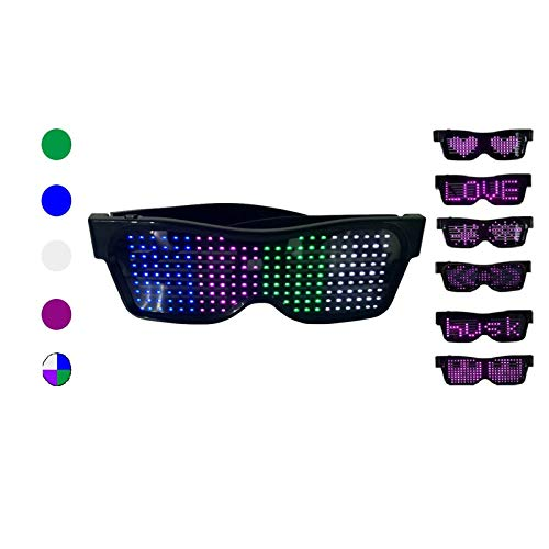 WYCY LED Luminous Light Up Gafas Control de Aplicación Pantalla de 4 Colores Gafas LED Gafas Luminosas USB para Disfraces de Halloween Fiesta Discotecas Fiesta de Cumpleaños