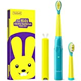 Fairywill 2001 Kids Sonic Electric Toothbrush Rechargeable with 2 Extra Soft Bristles Heads, Soft Tongue Cleaner, Smart Timer and 3 Modes, 4 Hours Charge for 30 Days Use, Green Series