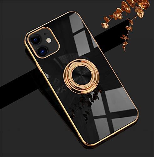 Jacyren Hülle für iPhone 12 Pro Handyhülle, iPhone 12 Pro Schutzhülle Case Ultradünnes magnetische KFZ-Halterung mit 360-Grad Finger-Halter Schale für iPhone 12 Pro (iPhone 12 Pro 6.1Zoll, schwarz)