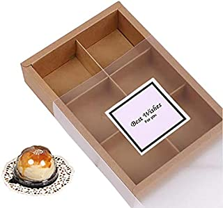 12 Packs Cupcake Boxes,Brown Kraft Treats Gift Boxes with Inserts and Display Windows,Cupcake Containers for Baking Pastri...