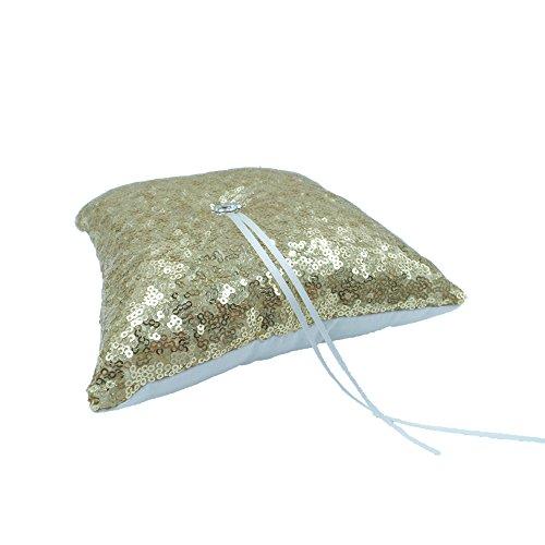 Abbie Home Sequin Glitter Wedding Guest Book + Sign Pen + Pen Stand Rhinestone Décor Wedding Party Favor (Gold Pillow)