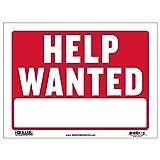 BAZIC 12' X 16' Help Wanted Sign, Now Hiring Jobs Job Fair, Store Mall Restuarant Business Plastic Signs, Vinyl Weather Scratch Resistant Waterproof, Indoor Outdoor, 1-Pack