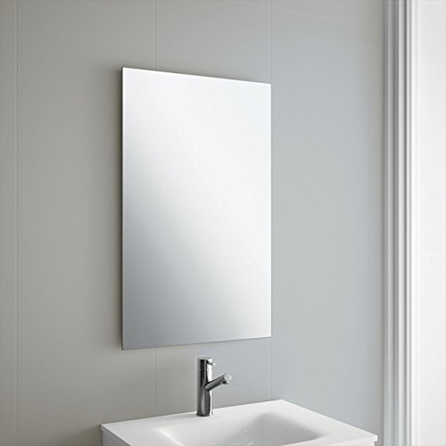 50 x 70cm Rectangle Bathroom Mirror, Unframed, Frameless Bathroom Mirror with Wall Hanging Fixing Hardware