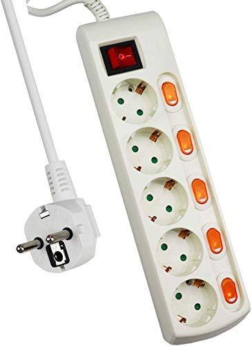 Acobonline-Enchufe múltiple con interruptor,Alargador Regleta para Enchufes Interruptor de Encendido y Apagado, para Enchufes Europeos, Certificado CE, Para uso interno Blanco,Longitud 1.5M (5 Tomas)