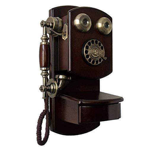 Pillowcase 123 Teléfono Fijo de Madera Maciza para Colgar en la Pared, dial Giratorio Antiguo, teléfono con Cable, teléfono de Tono clásico para Sala de Estar, Dormitorio, Estudio, A