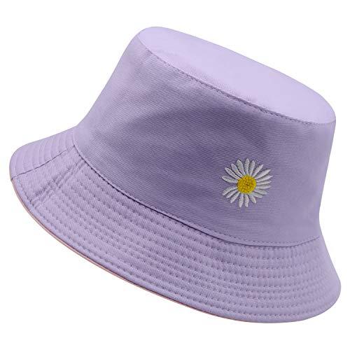 Flower Embroidery Bucket Hat for Women Summer Travel Beach Sun Packable Hat Reversible Outdoor Cap