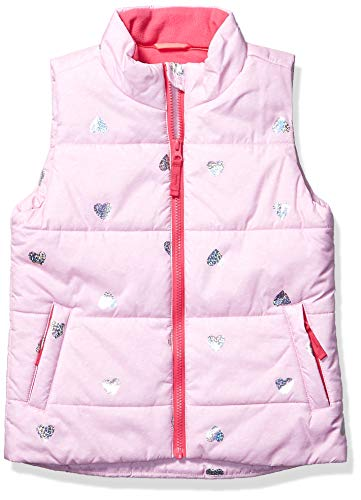 Amazon Essentials Heavy-Weight Puffer Vest Down-Outerwear-Vests, Heather Pink with Sparkle Hearts, S