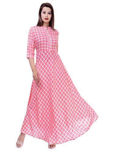Ramkudi Indian Women's Checks Cotton Kurti Top (Baby Pink)