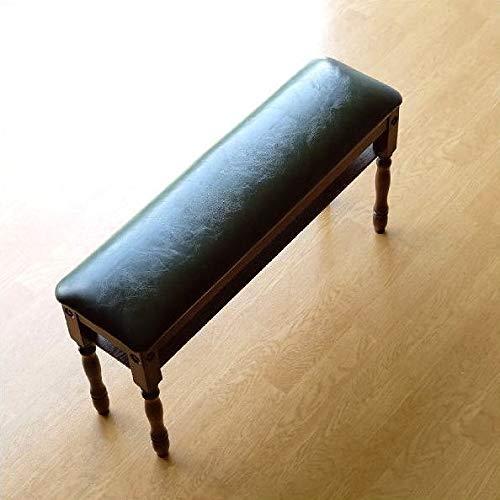 ベンチ スツール 木製 アンティーク スリム コンパクト 棚付き 合皮レザー クッション おしゃれ モダン 腰掛け 椅子 横長 幅80cm クラシックな玄関スツール [diz6600]