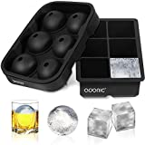 Adoric Ice Cube Trays Silicone Set of 2, Sphere Ice Ball Maker with Lid and Large Square Ice Cube Molds for...