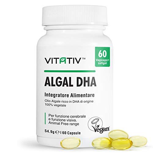Vegan Omega 3 VITATIV ALGAL DHA | Olio Di Alghe 250mg DHA Per Capsula | Senza Olio di Pesce o Krill Oil | 60 SoftGel VegiCaps