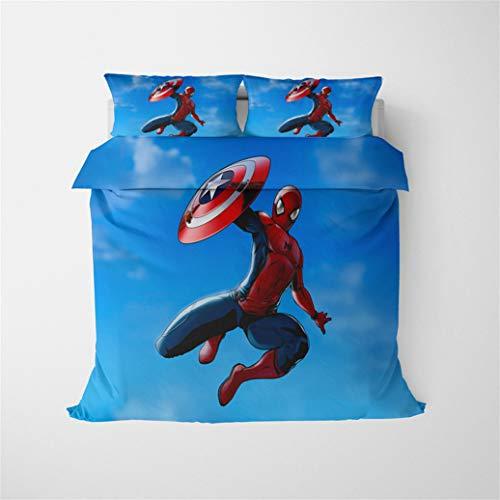 Bolat - Copripiumino Marvel Avengers Superhero Spiderman, stampa 3D, 100% fibra di poliestere, set di biancheria da letto per bambini e ragazzi, 200 x 200 cm