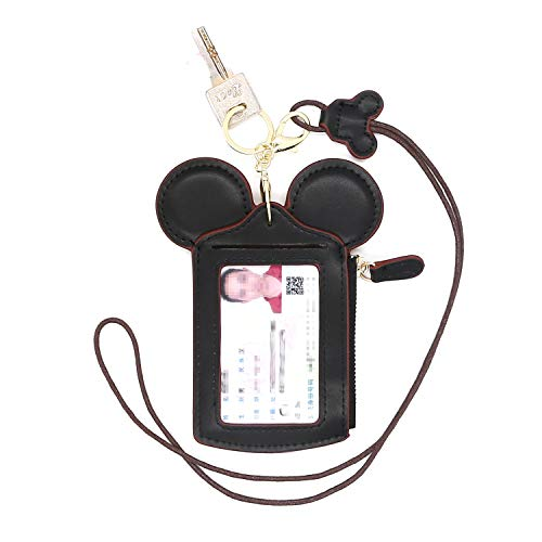 HXQ ID Holder With Lanyard Badge Holder,PU Leather newchic Cute Animal Shape neck wallet for Women, Black, Small